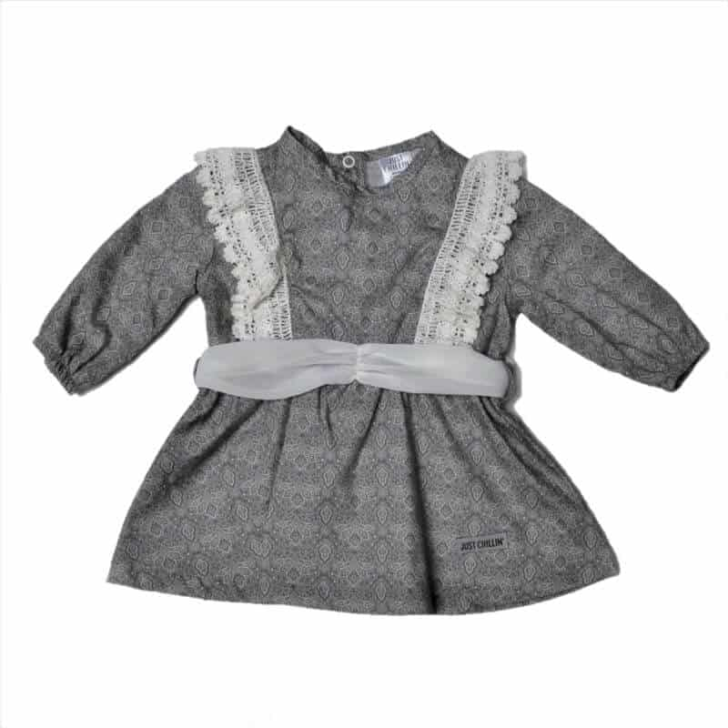 Baby Girls Grey Paisley Dress Just Chillin Baby Clothes
